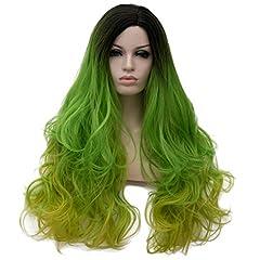 Idea Regalo - Nunubee Da Donna Sfumatura Smeraldo Separazione Laterale Destra Ondulata Lunga Parrucche Sintetiche del Partito di Cosplay