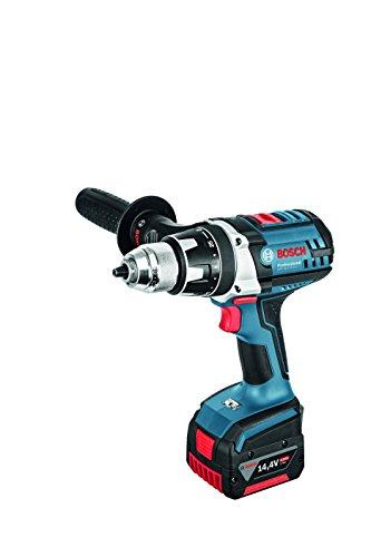 Bosch Professional 14,4V Akkuschrauber GSR 14,4 VE-2-LI 2x 4,0 Ah Akku Ladegerät Zusatzhandgriff L-BOXX (14,4 Volt Max. Drehmoment: 75 Nm max. Schrauben-Ø: 10 mm)