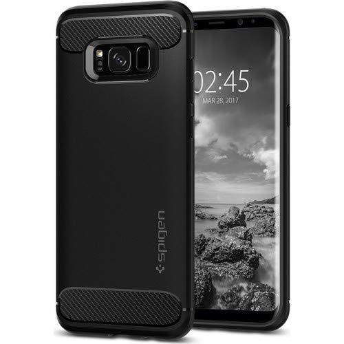 Spigen Samsung Galaxy S8 Plus Hülle, [Rugged Armor] Karbon Look [Schwarz] Soft Flex TPU Silikon Handyhülle Schutz vor Stürzen und Stößen Schutzhülle für Samsung Galaxy S8 Plus Case Black