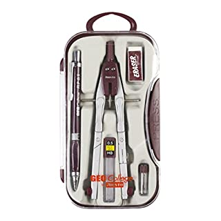 "Aristo AR80064AZ Studio Quick Adjust Compass GZ Set of 5 Case With ""Press Button"" To Open Lid, Silver/Wine Red"