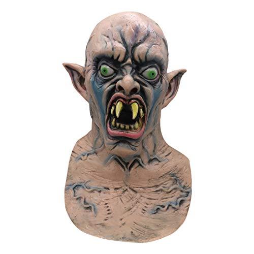 Für Erwachsene Kostüm Komisch Nur - Baslinze Hornmaske Halloween Maske, Halloween Kostüm Party Maske Cosplay Latex Helm Maske Gesicht Erwachsene Kinder Latex Kostüm Narbe für Unisex Erwachsene und Jugendliche Komisch Horror