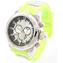 Cute Big Green Silicone Bracelet Men's Watch 239