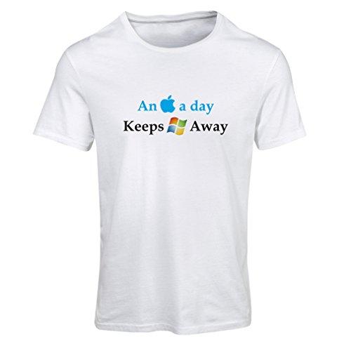 lepni.me Frauen T-Shirt EIN Apfel am Tag - Lustige Sprüche, große ungewöhnliche Geschenk-Ideen (XX-Large Weiß Mehrfarben)