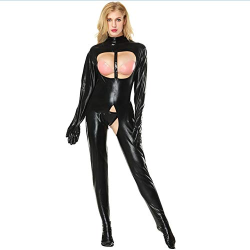 MNLXL Womens One Piece Lacklederbody Trikot Strumpfhosen Top Langarm Bar Nachtclub Kostüme,Black,XXXXL