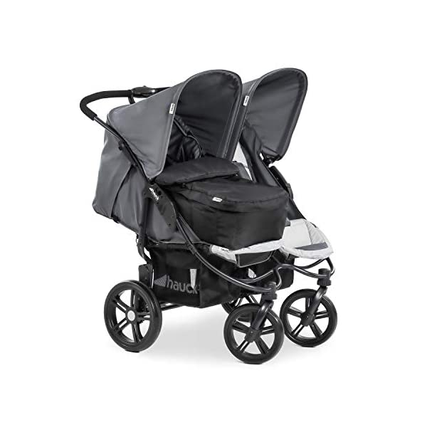 Hauck Roadster Duo SLX Double Pushchair, Grey/Silver, 14 kg Hauck Twin and sibling stroller suitable for two children or new-borns by combining it with the separately available hauck 2 in 1 carrycot, this pushchair holds 2 x 15 kg Fits through doors despite the children sitting side by side, roadster duo slx fits through doors and elevators as it measures 76 cm only Comfy both backrest and footrest come with sun hood, as well as large shopping baskets and are individually adjustable up to lying position; the pushchair is easy to fold away with one hand 17