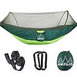 AMZQJD Ultraleichte Moskito Netz Camping Hängematte Outdoor / 300kg Tragfähigkeit,(250 x 120 cm/290*145cm) Schnell öffnen Fallschirm Nylon, für Outdoor Camping und Indoor Garten...