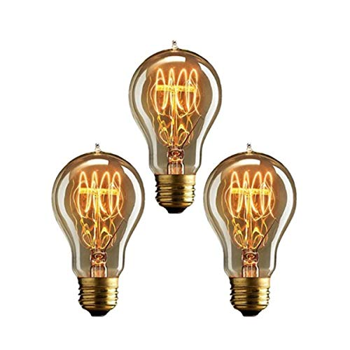 KINGSO 3pack Vintage E27 A19 40W Glühbirne Warmweiss Edison Glühlampe Wolfram Retro Nostalgie Antike Beleuchtung 220V mit CE/ROHS Zertifizierung