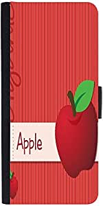Snoogg bright organic red apple card in vector format Graphic Snap On Hard Back Leather + PC Flip Cover LG Nexus 5