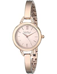 Caravelle New York  Crystal Analog Gold Dial Women's Watch - 44L133