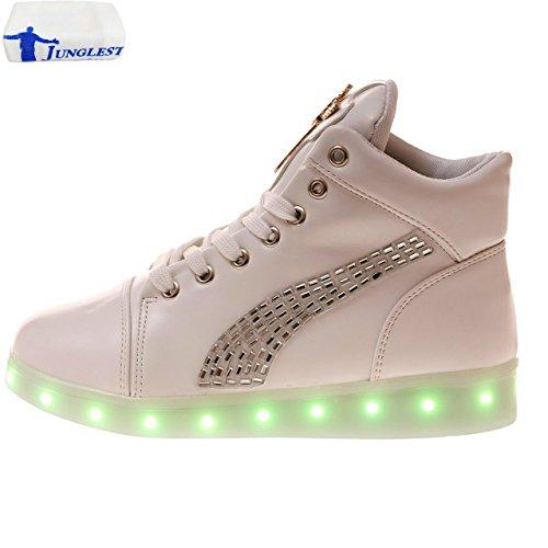 ... Sportschuhe High Top Sneaker Turnschuhe für Unisex-Erwa c10. (Present:kleines  Handtuch)JUNGLEST® 7 Farbe USB Aufladen LED Leuchtend Sport Schuhe