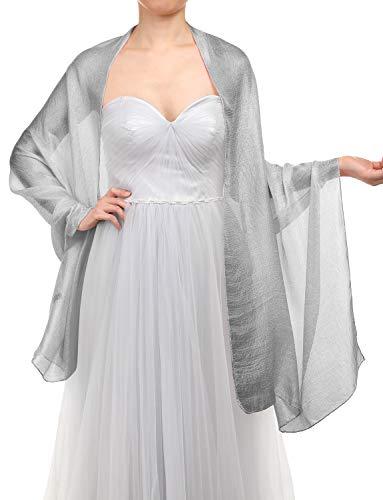 Gardenwed sciarpa scialle da donna eleganti scialli estate sciarpe pashmina stole per sera matrimoni feste spiaggia silver grey