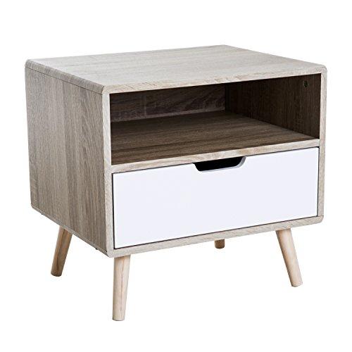 Homcom Chevet Table de Nuit Design scandinave tiroir + Niche Bicolore Pieds Effilés Inclinés Bois Massif Chêne Clair Blanc 60