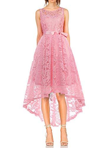 MONYRAY Damen Elegant Schwingendes Kleid aus Spitzen Asymmetrisch Ärmellos Unregelmässig Abendkleider Festlich Cocktailkleider Ballkleid Pinup Rockabilly Party Brautjungfern Kleid Rosa XXL