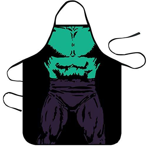 Mediffen Lustige Küchenschürze Unisex Muscle Male Schürzen Creative Cartoon Schürzen, Black 12-The Hulk, Einheitsgröße (Sie Hulk Kostüm Cosplay)