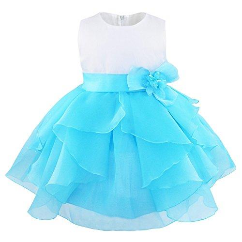 Freebily Süßes Baby Mädchen festlich Kleid Blumenmädchenkleid Ärmellos Organza Tütü Prinzessin Kleid Babykleid Partykleid Festzug mit Blumen in Größe 62-98. Blau 68-74