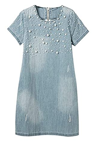 DELEY Women Casual Short Sleeve A-Line Elegant Beaded Plus Size Vintage Denim Jeans Dress Size UK 16-18/3XL