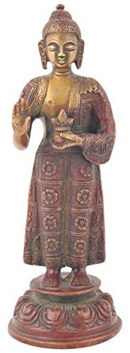 Rajasthani Khaadi Haat Bronze Standing Buddha Statue (7.5 cm x 7.5 cm x 19.5 cm, Brown)