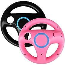 Generic 2 x pcs Pink Black Steering Mario Kart Racing Wheel for Nintendo Wii Remote Game [Importación Inglesa]