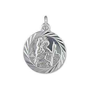 Mens Sterling Silver Medium Double Sided Travel Design St Christopher Pendant On A 16 Inch Black Leather Cord Necklace