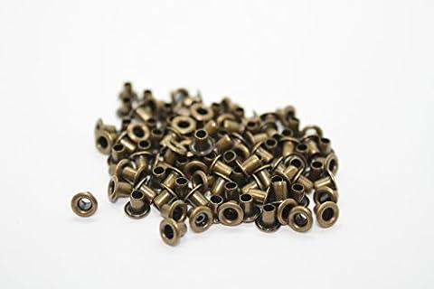 Set 100Stück 2mm Ösen Kleidung Repair Tüllen Nähen für Leder Handwerk, Taschen, Scrapbooking, hinzufügen Bänder, Schnürung und Stoff in Kunst von Hochzeit Decor, metall, bronze, 2mm