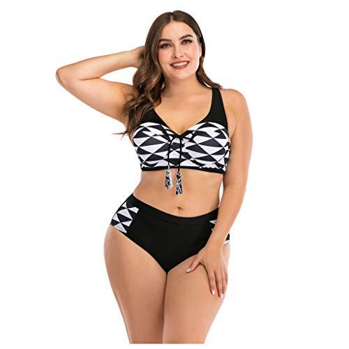 Anglewolf Damen Bikini Set Push up Badeanzug Zweiteilige Bandeau Bademode mit verstellbaren Träger Twist Pushup viele Bunte Farben und Größen Top + Hose Set(A Weiß,3XL)