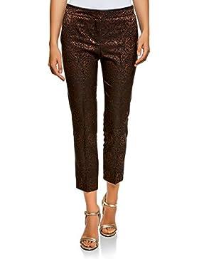 oodji Collection Mujer Pantalones de Jacquard con Pinzas