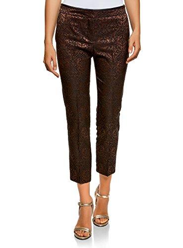 oodji Collection Mujer Pantalones de Jacquard con Pinzas, Marrón, ES 42 / L