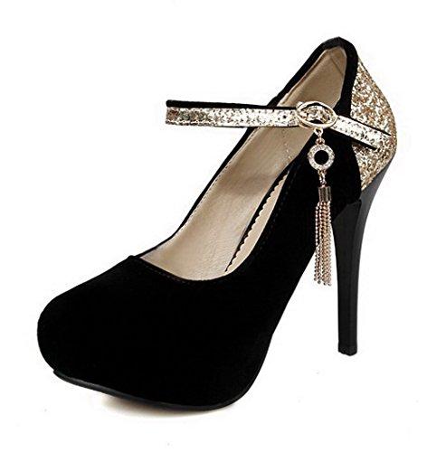 VogueZone009 Femme Couleurs Mélangées Boucle Rond à Talon Haut Chaussures Légeres Noir