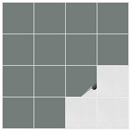 Fliesenaufkleber für Bad und Küche - 15x15 cm - grau matt - 200 Fliesensticker für Wandfliesen