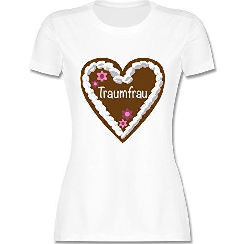Oktoberfest Damen - Lebkuchenherz Traumfrau - tailliertes Premium T-Shirt mit Rundhalsausschnitt für Damen Weiß