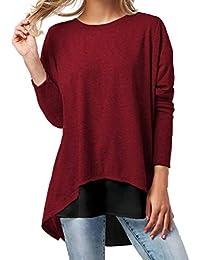 Lucky Mall Damen Langarmshirt Rundhals Sweatshirt Frauen Patchwork  Blusentop Herbst Mode Frauen Langarm Knopf Patchwork… 22e6252678