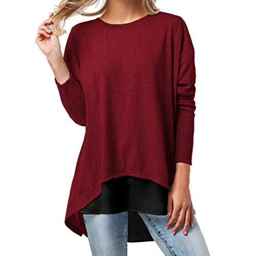 Lucky Mall Damen Langarmshirt Rundhals Sweatshirt Frauen Patchwork Blusentop Herbst Mode Frauen Langarm Knopf Patchwork Langarm T-Shirt Tops