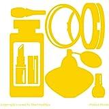 Perfumería, Cosmetics, Perfume, de laca de uñas, efecto espejo, de cara de polvo, diseño con forma de pintalabios (19 cm x 19 cm) color amarillo para baño, infantil, para niños juego de pegatinas decorativas, vinilo de coche, Windows y adhesivo decorativo para pared, diseño de pared Windows, adhesivo, diseño de vinilo adhesivo para ThatVinylPlace
