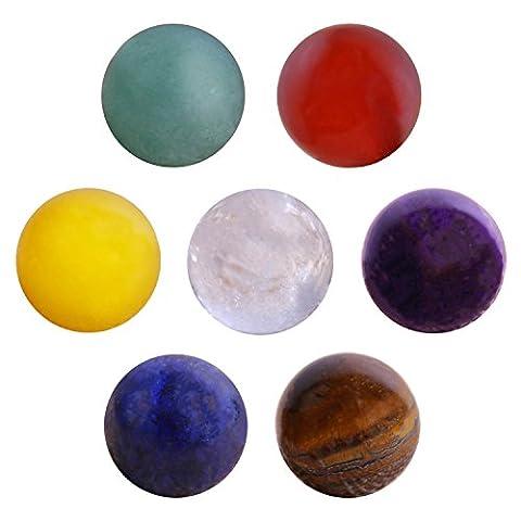 Morella Set 7 pierres précieuses minéraux chakra sphères boules 16 mm pour collier dans une pochette en velours