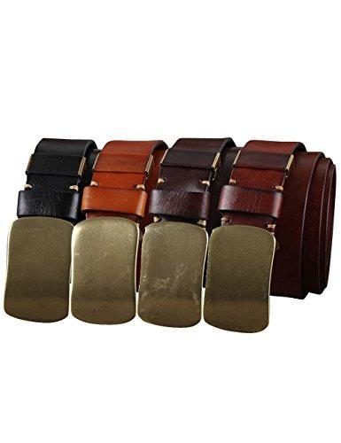 Menschwear Men's Belt Genune Leather Adjustable Belt with Copper Slide Buckle 35MM