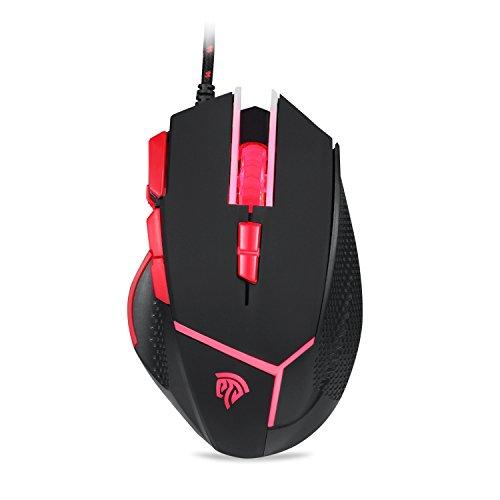EasySMX Mouse da Gioco, Gaming mouse V18 4000 DPI con LED 9 Pulsanti/Kit regolazione Peso/per computer e pc portatili (nero)