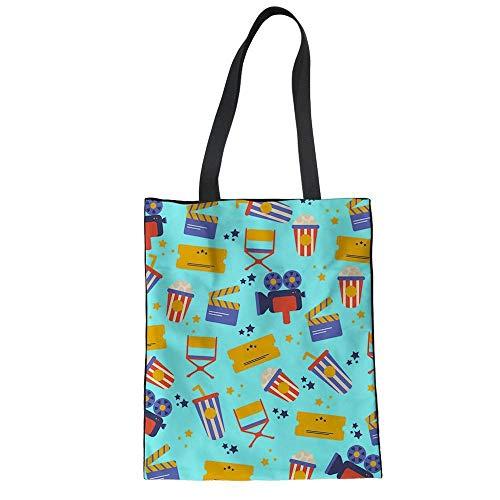 Cartoon-muster Leinwand (SHOUTIBAOBAO Handtasche Leinwand,3D Cartoon Popcorn Projektor Muster Grünes Drucken Frauen Wieder Verwendbare Einkaufstaschen, Handtaschen Strand Travel Umhängetasche Für Profil)