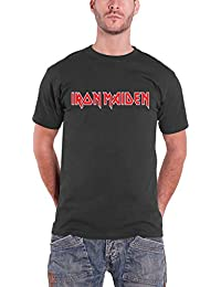 Iron Maiden T Shirt Band Logo Classic Red Official Mens Charcoal Grey