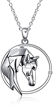 Horse Necklace Sterling Silver Lovely Animal Pendant Origami Horse Jewelry Gift for Women