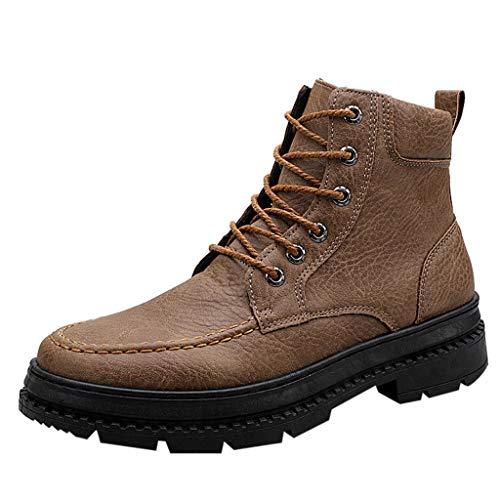 Lilicat Stivaletti Uomo Boots Lavoro Giardino Stivaletti Antiscivolo Ankle Stivali in Pelle Stivali Antiscivolo Resistenti all'Usura Boots(Marrone,38 EU)