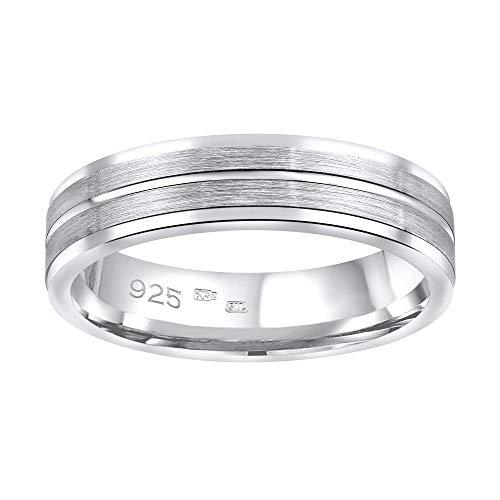 SILVEGO Damen und Herren Ehering aus 925 Sterling Silber AVERY (49 (15.6))