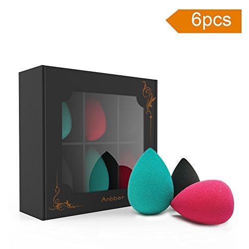 Anbber Ensemble de 6 éponges pour appliquer le maquillage, le cache-cache, la poudre, la crème et le rouge, sans latex, hypoallergénique et sans odeur