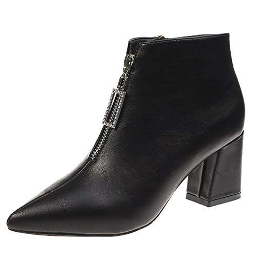 QinMM High Heels Short Booties, Damen Ankle Bare Pointed Toe Metallschnalle Stiefel Square Heel Short Booties -