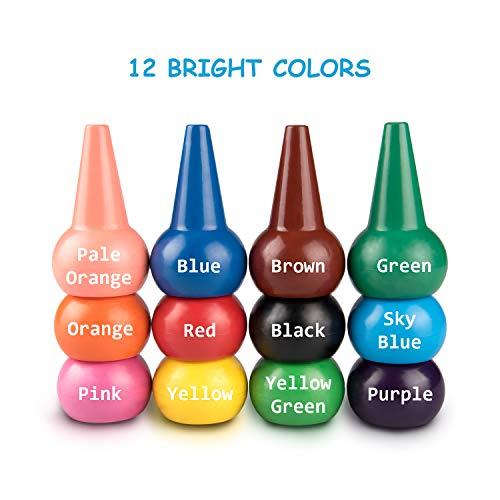 Uiter Lápices de Colores para niños 12 Colores Crayones para Pintar con los Dedos,  no tóxicas,  Lavables,  crayones de Juguetes apilables para niños pequeños,  niños,  niñas,  bebés.