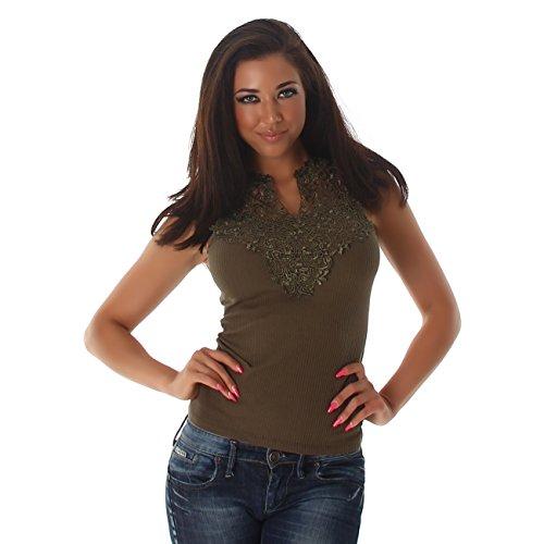 top maglia t-shirt costine grande pizzo macramè cotone smanicata elegante Verde