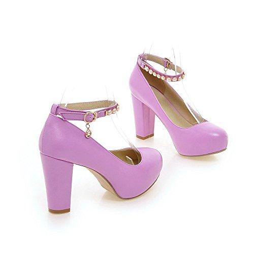 AllhqFashion Femme Pu Cuir Couleur Unie à Talon Haut Rond Boucle Chaussures Légeres Violet