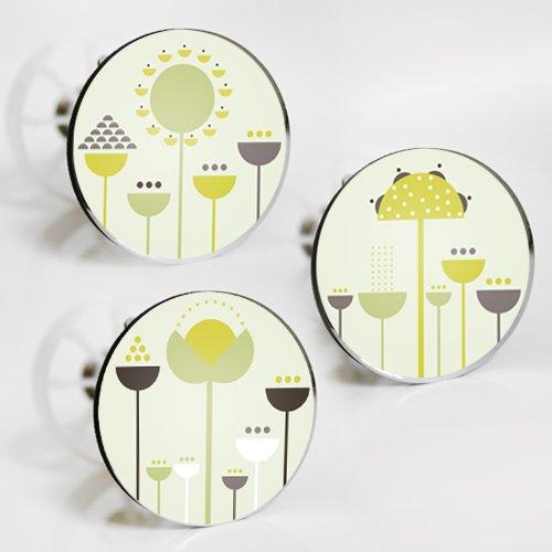 StöpselSpaß Aufkleber für Waschbeckenstöpsel - Motiv: geometrische Blumen - 3 Stück im Set