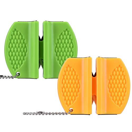 X-Mile 2 PCS Messerschärfer Wolfram Stahl und Keramik Slot 2-Schritt Messerschärfer Werkzeug Mit Anti-Rutsch-Basis für Küche Camping Outdoor 7.5x 6x2.5cm / 2.95x2.36x 0.98inch Grün Gelb