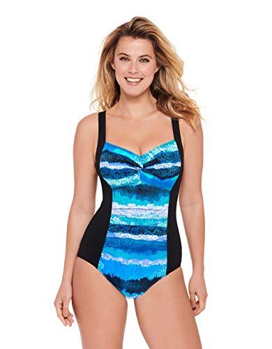 Blue Tank Badeanzug (Christina Damen D-Cup Tank One Piece with Twist Front Swimsuit Einteiliger Badeanzug, Mandala Tie Dye, 42)