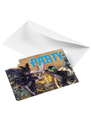 16-teiliges Einladungskarten-Set * LEGO NINJAGO * für Party und Geburtstag // Kindergeburtstag Mottoparty Ninjas Einladungen Invites